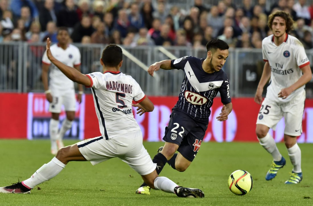 Paris Saint-Germain's Brazilian defender Marquinhos (L) vies with Bordeaux's French midfielder Adam Ounas during the French L1 football match between Bordeaux and Paris (PSG) on May 11, 2016 at the Matmut Atlantique stadium in Bordeaux, southwestern France. AFP PHOTO / GEORGES GOBET / AFP / GEORGES GOBET (Photo credit should read GEORGES GOBET/AFP/Getty Images)