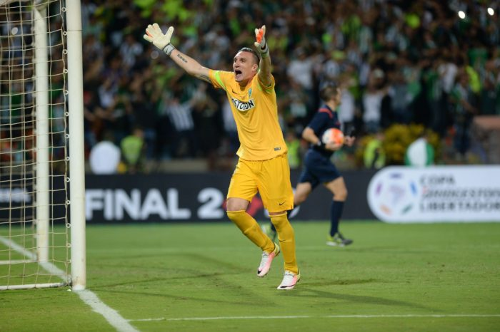 Colombian Atletico Nacional goalie Franco Armani celebrates winning their Copa Libertadores 2016 final match against Ecuador's Independiente del Valle at the Atanasio Girardot Stadium in Medellin, Colombia on July 27, 2016. / AFP / RAUL ARBOLEDA        (Photo credit should read RAUL ARBOLEDA/AFP/Getty Images)