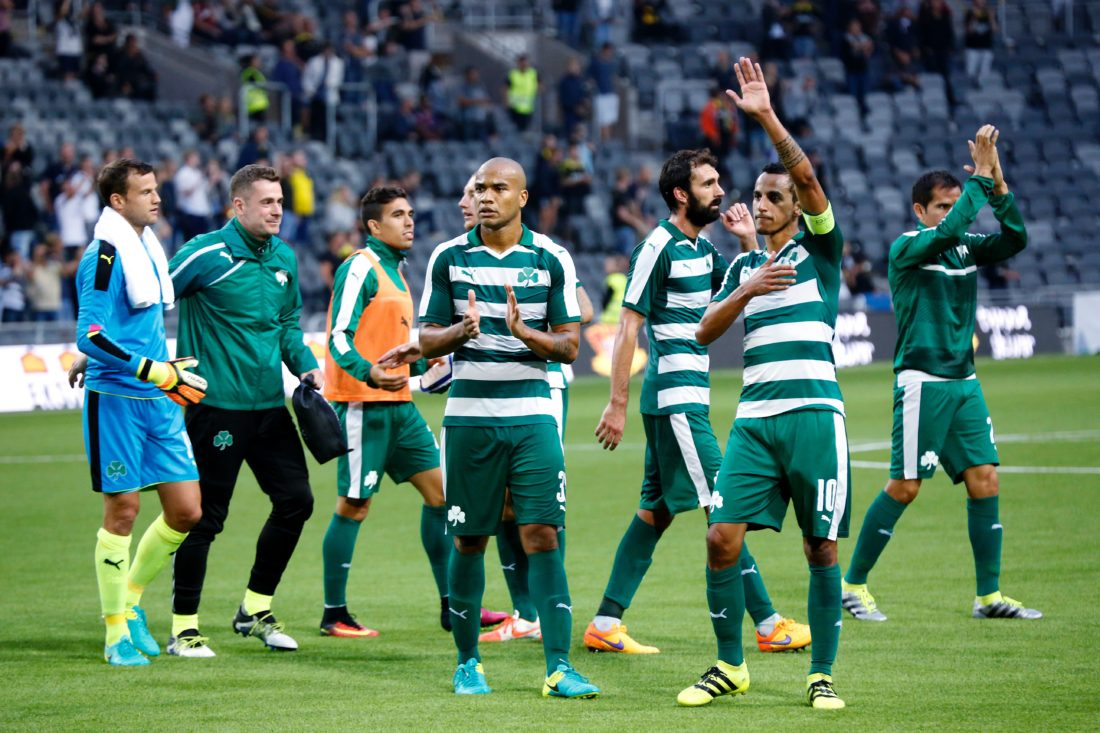 Panathinaikos players gesture toward the crowd after the qualifying football match of the UEFA Europa League between AIK Solna and Panathinaikos FC at Tele2 Arena in Stockholm, on August 4, 2016. / AFP / TT News Agency / Christine Olsson / Sweden OUT (Photo credit should read CHRISTINE OLSSON/AFP/Getty Images)