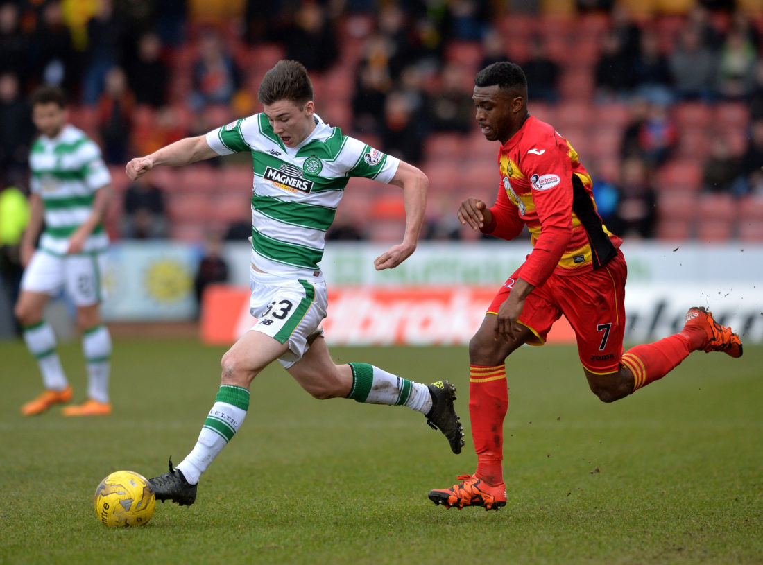 GLASGOW, SCOTLAND - MARCH 12 : Kieran Tierney of Celtic is tackled by David Amoo of Patrick Thistle during the Ladbrokes Scottish Premiership match between Patrick Thistle FC and Celtic FC at Firhill Stadium on March 12, 2016 in Glasgow, Scotland. (Photo by Mark Runnacles/Getty Images)