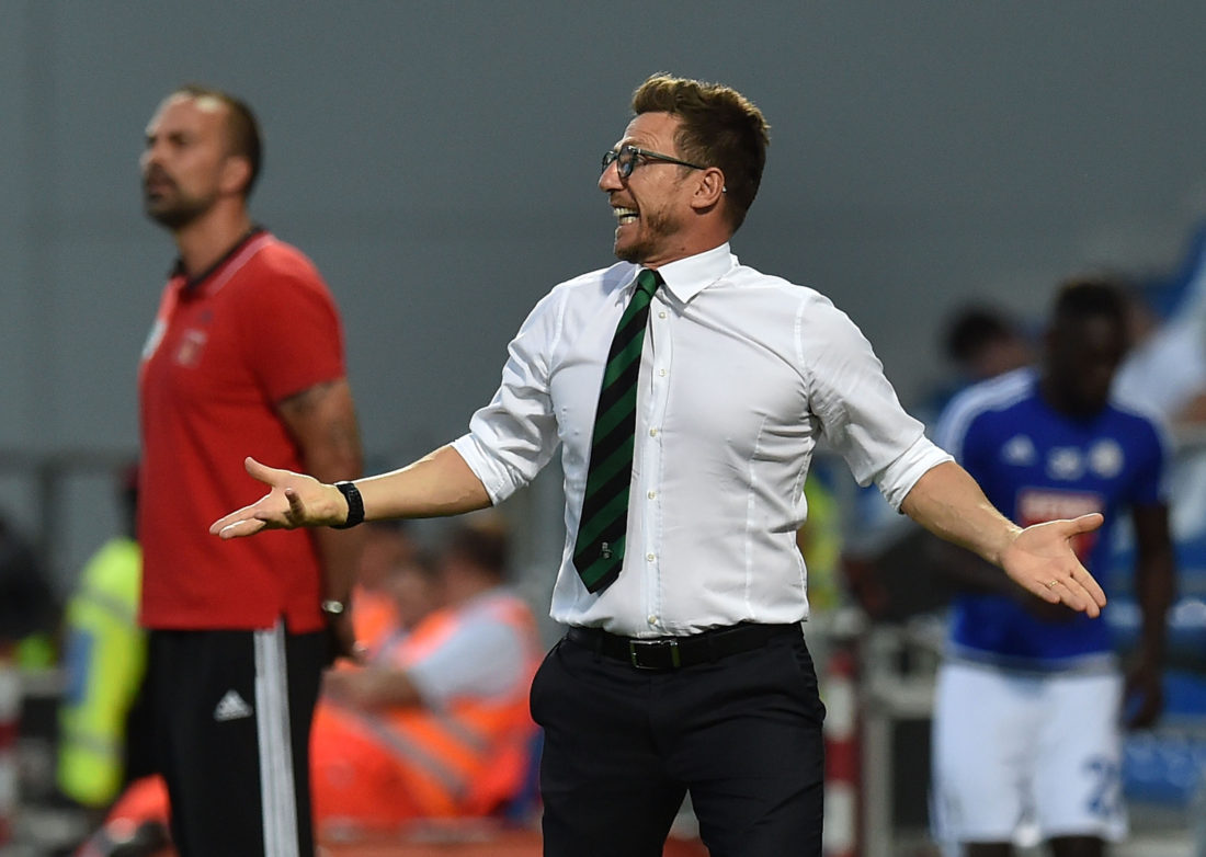 REGGIO NELL'EMILIA, ITALY - AUGUST 04: Eusebio Di Francesco hesd coach of US Sassuolo during the Third Qualifying Round Europa League between US Sassuolo and FC Luzern at Mapei Stadium - Città del Tricolore on August 4, 2016 in Reggio nell'Emilia, Italy (Photo by Giuseppe Bellini/Getty Images)