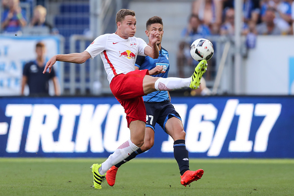 Benno Schmitz in action for RB Leipzig against Hoffenheim. Simon Hofmann / Bongarts / Getty Images