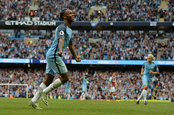Sterling celebrates scoring against West Ham United. Oli Scarff / AFP / Getty Images