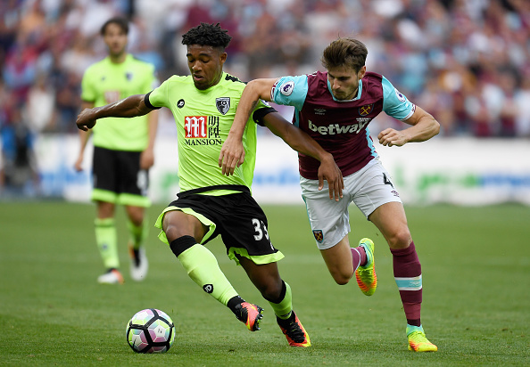 LONDON, ENGLAND - AUGUST 21: Jordan Ibe of AFC Bournemouth is challenged by Havard Nordtveit of West Ham United during the Premier League match between West Ham United and AFC Bournemouth at London Stadium on August 21, 2016 in London, England. (Photo by Mike Hewitt/Getty Images)