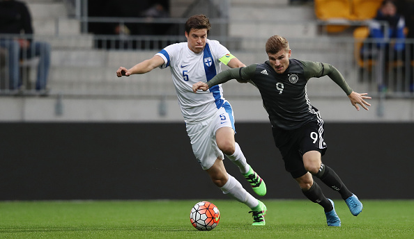 SEINAJOKI, FINLAND - SEPTEMBER 06: Timo Werner (R) of Germany is challenged by Sauli Vaisanen of Finland during the 2017 UEFA European U21 Championships Qualifier between U21 Germany and U21 Finland at OmaSP Stadium on September 6, 2016 in Seinajoki, Finland. (Photo by Alex Grimm/Bongarts/Getty Images)