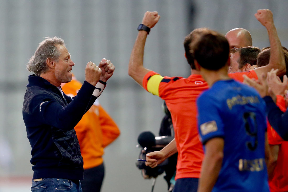 BRUGGE, BELGIUM - JULY 23: Head coach Michel Preud'homme of Brugge celebrates winning 2-1 the Supercup match between Club Brugge and Standrad Liege at Jan-Breydel-Stadium on July 23, 2016 in Brugge, Belgium. (Photo by Christof Koepsel/Getty Images)