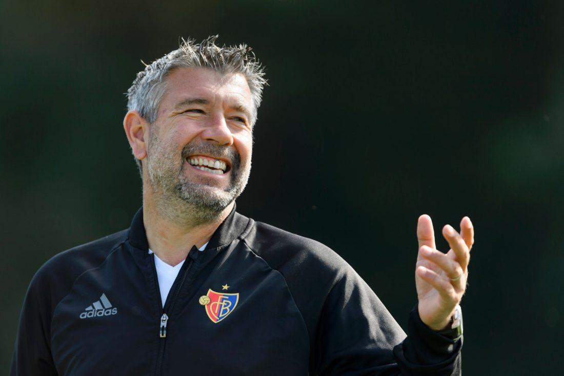 Basel's Swiss head coach Urs Fischer gestures during a training session in Basel on September 12, 2016, on the eve of the UEFA Champions League League group A football match beetween FC Basel 1893 and PFC Ludogorets Razgrad. / AFP / FABRICE COFFRINI (Photo credit should read FABRICE COFFRINI/AFP/Getty Images)