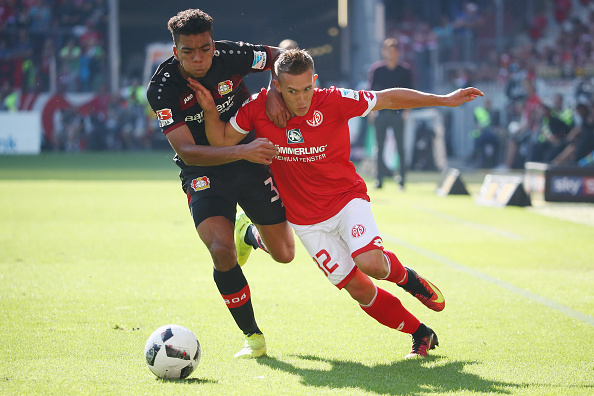 during the Bundesliga match between 1. FSV Mainz 05 and Bayer 04 Leverkusen at Opel Arena on September 24, 2016 in Mainz, Germany.