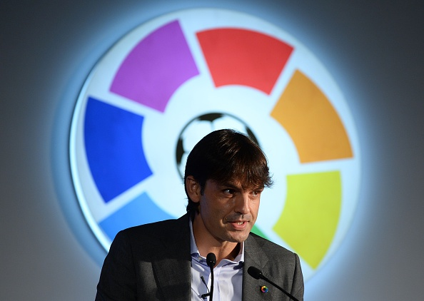 Retired Spanish football player Fernando Morientes speaks during a function to promote the Spanish football league at a function in New Delhi on September 15, 2016. / AFP / SAJJAD HUSSAIN (Photo credit should read SAJJAD HUSSAIN/AFP/Getty Images)