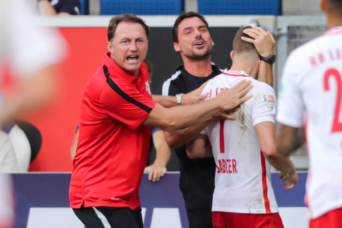 SINSHEIM, GERMANY - AUGUST 28:  Marcel Sabitzer of Leipzig celebrates his team's second goal with Ralph Hasenhuettl during the Bundesliga match between TSG 1899 Hoffenheim and RB Leipzig at Wirsol Rhein-Neckar-Arena on August 28, 2016 in Sinsheim, Germany.  (Photo by Simon Hofmann/Bongarts/Getty Images)