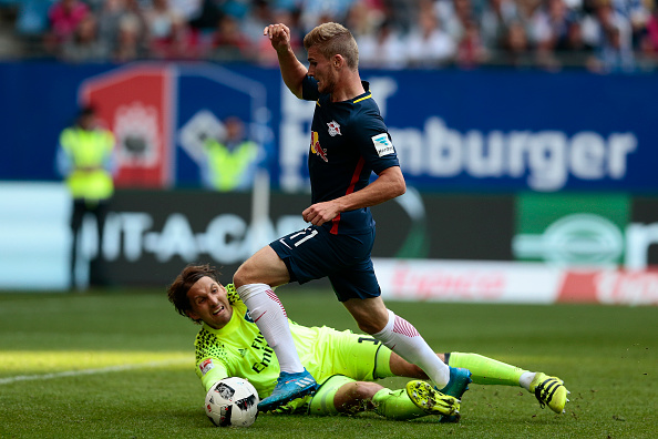 Timo Werner wins a penalty against Hamburg. OLIVER HARDT / Bongarts / Getty Images