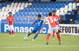 Bengaluru FC skipper Sunil Chhetri lines up a shot during the AFC Cup quarterfinal first leg against Tampines Rovers at the Kanteerava Stadium, in Bengaluru, on Wednesday