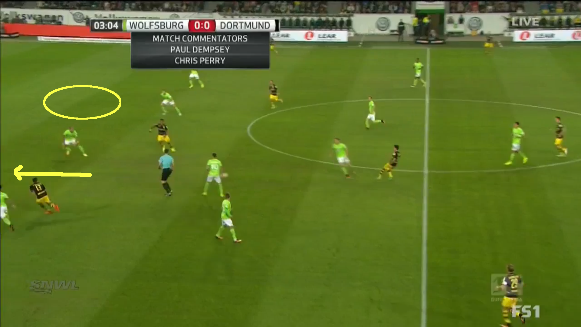 Space created for Aubameyang through Guerreiro's outward run