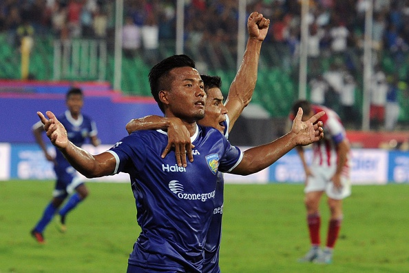 Chennaiyin FC forward Jeje Lelpekhlua (L) celebrates after scoring a goal during the Indian Super League (ISL) football match between Chennaiyin FC and Atletico-de-Kolkata in Chennai on October 3, 2015. AFP PHOTO/Manjunath KIRAN (Photo credit should read MANJUNATH KIRAN/AFP/Getty Images)