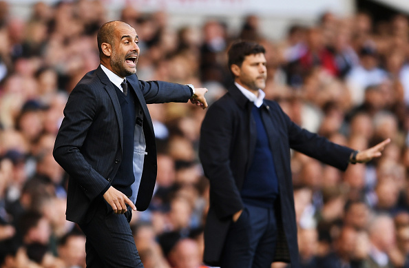 LONDON, ENGLAND - OCTOBER 02: Josep Guardiola, Manager of Manchester City reacts next to Mauricio Pochettino, manager of Tottenham Hotspur during the Premier League match between Tottenham Hotspur and Manchester City at White Hart Lane on October 2, 2016 in London, England. (Photo by Shaun Botterill/Getty Images)