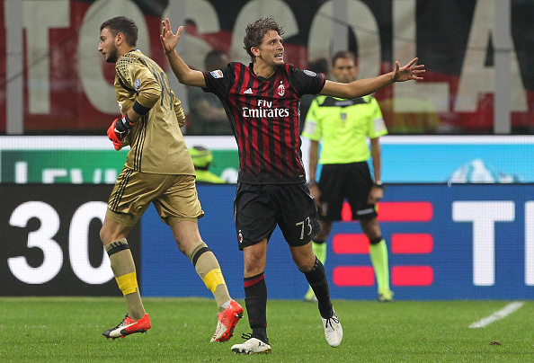 during the Serie A match between AC Milan and US Sassuolo at Stadio Giuseppe Meazza on October 2, 2016 in Milan, Italy.