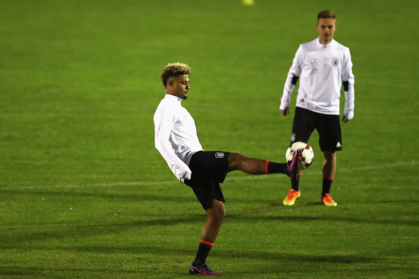 during a training session of the German national team at Stadio di Santamonica di Misano Adriatico on November 9, 2016 in Rimini, Italy.