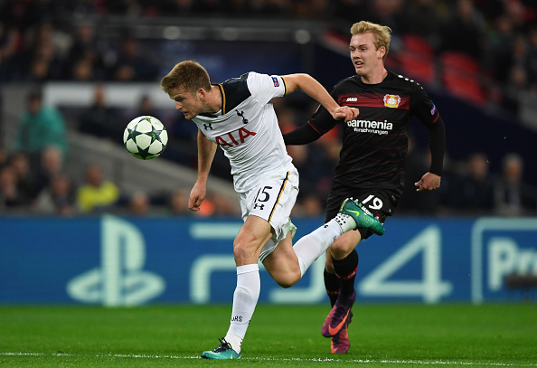 LONDON, ENGLAND - NOVEMBER 02: Eric Dier of Tottenham Hotspur is chased down by Julian Brandt of Bayer Leverkusen during the UEFA Champions League Group E match between Tottenham Hotspur FC and Bayer 04 Leverkusen at Wembley Stadium on November 2, 2016 in London, England. (Photo by Shaun Botterill/Getty Images)