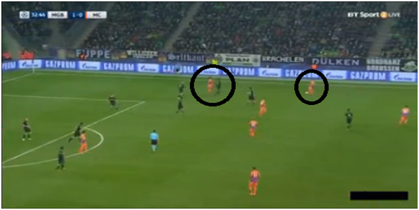 We can identify both Sterling and Navas in the same flank which aided 10 minutes later as Sterling created the chance for the goal from that half space.