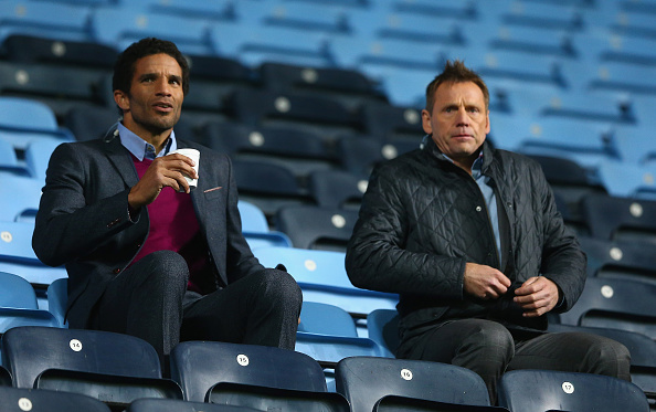COVENTRY, ENGLAND - OCTOBER 13: David James and Stuart Pearce watch from the stands during the European Under 21 Qualifier match between England U21 and Kazakhstan U21 at Ricoh Arena on October 13, 2015 in Coventry, England. (Photo by Matthew Lewis/Getty Images)