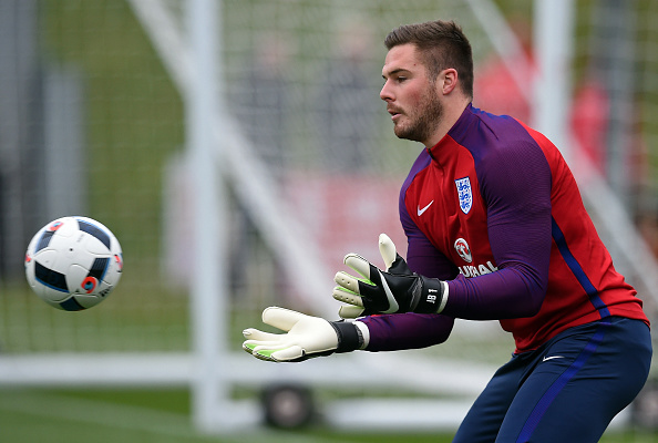 England's goalkeeper Jack Butland participates during a team training session at St George's Park in Burton-on-Trent, central England on March 22, 2016. England play world champions Germany in Berlin on March 26, before taking on the Netherlands at Wembley on March 29, as they step up preparations for Euro 2016. / AFP / PAUL ELLIS (Photo credit should read PAUL ELLIS/AFP/Getty Images)