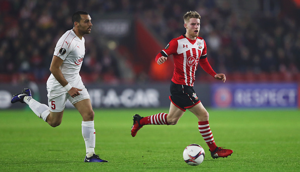 during the UEFA Europa League Group K match between Southampton FC and Hapoel Be'er-Sheva FC at St Mary's Stadium on December 8, 2016 in Southampton, England.
