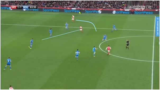Walcott's vision to drive from his right flank attacking the space vacated by the deep snachez forced the centre halves to narrow and drop deeper with Walcott threatening the ball in behind the defence with his pace. This was also coupled with Ozils movement to the space outwide left by the narrow defence, Walcott's drive through the centre also created a 1v1 with Ozil & Smith as he dragged the CB's away helping Ozil to deliver the cross leading to the goal.