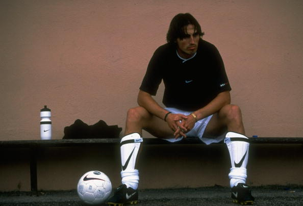 1 Jul 1997: Dino Baggio of Parma and Italy relaxes during a training feature at Cap Ferrat in France. Mandatory Credit: Shaun Botterill /Allsport